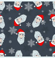 christmas pattern of the heads of the santa claus vector image