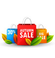 color shopping paper bags with autumn sale vector image