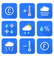 colored flat style weather forecast icons set vector image vector image
