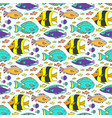 doodle fishes pattern hand drawn marine seamless vector image vector image