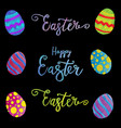 easter eggs composition hand drawn on black vector image vector image