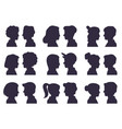 face profile silhouettes male and female heads vector image