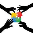 four hands teamwork puzzle vector image