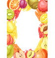frame with ripe fruits vector image vector image