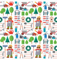 garden equipment flat seamless pattern background vector image