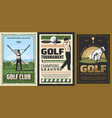 golf course player stick golfing tournament vector image