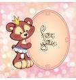 greeting card cheerful bear vector image vector image