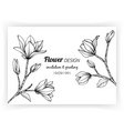 greeting card with magnolia flower and leaf hand vector image vector image