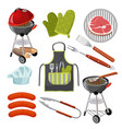 grill mittens fresh meat on grid vector image vector image