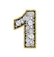 Hand drawn alphabet design Digit 1 vector image vector image