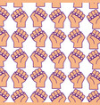 hands human fist pattern background vector image vector image