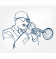 hands trumpet sketch line design music instrument vector image
