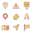 Icons Style Map icons on white background GPS and vector image