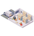 isometric warehouse interior vector image vector image