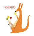kangaroo family of mother and baby book character vector image