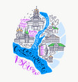 kostroma city doodle map vector image