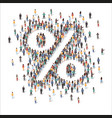large group people forming percent sign flat vector image
