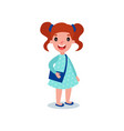 little brunette girl in casual outfit blue polka vector image vector image