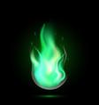 magic green fireball flame vector image