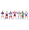 male soccer team football players stand in row vector image
