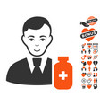 medical pharmacist icon with dating bonus vector image