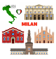 Milan Italy Travel Doodle with Architecture vector image vector image