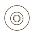 monochrome round contour with coffee cup top view vector image vector image