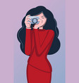 photographer woman and camera avatar girls vector image