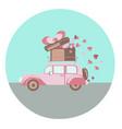 pink retro car vector image
