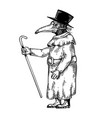 plague doctor engraving vector image vector image