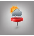 Red pin icon weather Cloud sun snow vector image