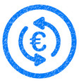 refresh euro rounded icon rubber stamp vector image