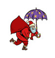 santa claus with star umbrella magical night vector image vector image