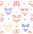 seamless lingerie pattern tender pink vector image vector image