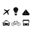 set of travel transport icons vector image vector image