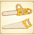 Sketch saw set in vintage style vector image