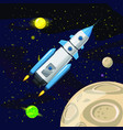space rocket launch spaceship space background vector image