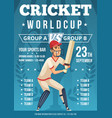 sport poster of cricket placard invitation at vector image