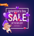 valentines day sale purple banner or flyer design vector image vector image