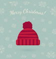 winter hat on winter backdrop vector image