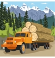 heavy loaded logging truck in forest in mountains vector image