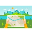 Hiker Reading Map vector image