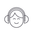 audio listeningman with headphones line vector image