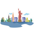 colored silhouettes of new york city and its vector image