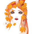 Autumn floral girl3 vector image vector image