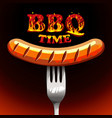 bbq time - photorealistic sausage on a fork vector image vector image