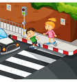 Boy and girl crossing the road vector image vector image