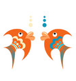 bright orange tropical fish with blue ornament vector image