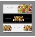 Business cards design fruit market sketch vector image vector image