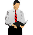 business man reading documents vector image